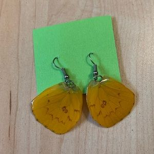Yellow butterfly wing earrings from Thailand